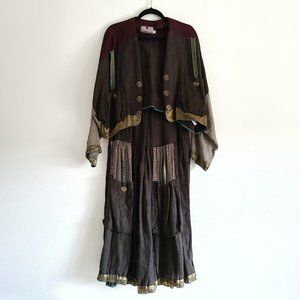 Crunch Boho Peasant Maxi Skirt Cardigan Linen Set